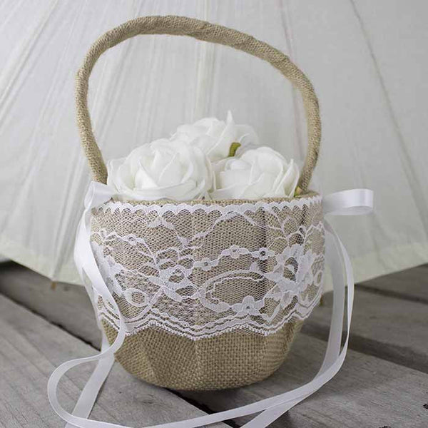 Burlap And Lace Flower Girl Basket My Wedding Store