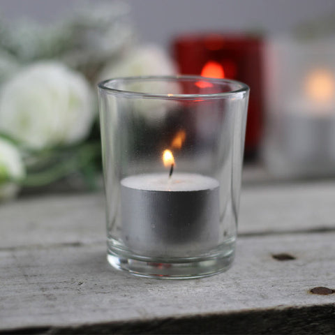 Glass Round Candle Holder Clear 1pc My Wedding Store
