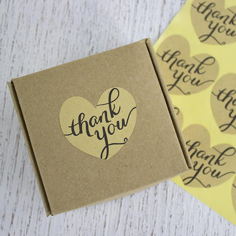 Heart Kraft Thank You Stickers 48 Pieces My