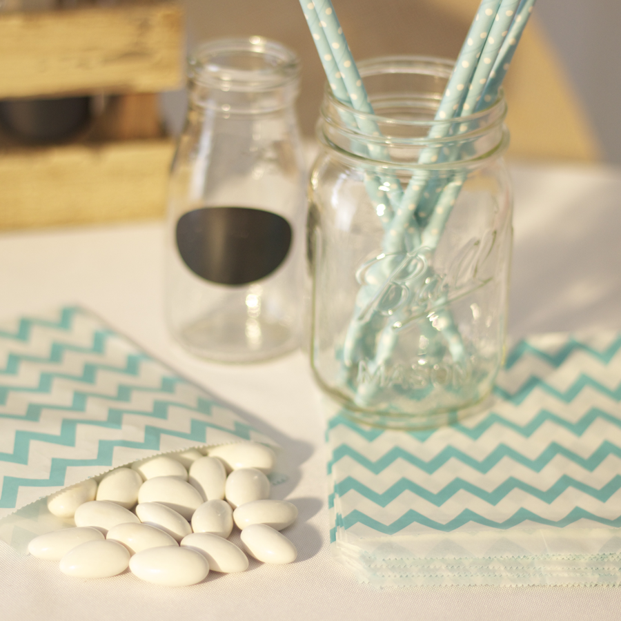 Baby Blue Chevron Paper Treat Bags - My Wedding Store