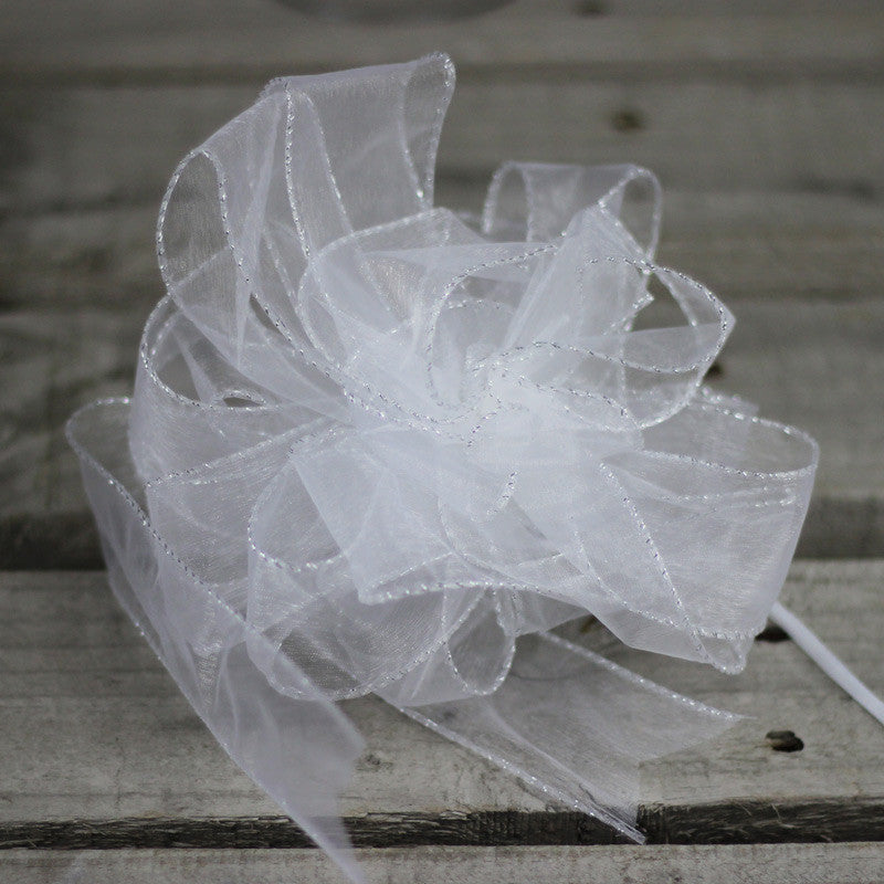 Organza Bow White With Silver Trim 5 Pieces My Wedding