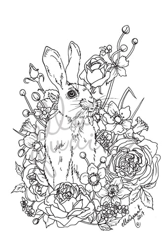 Bunny Bouquet Colouring / Coloring Page Instant Download