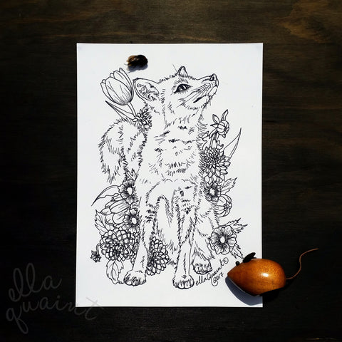 Fox Bouquet Colouring / Coloring Page Instant Download