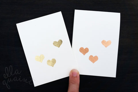 Heart Cluster - a hand gilded gift card