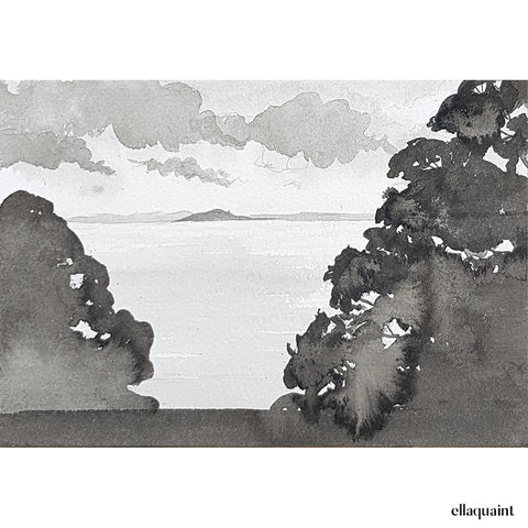 Hauraki Gulf - an original ink and wash landscape