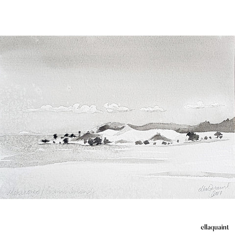 Motukorea / Brown's Island - an original ink and wash landscape