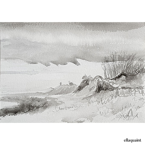 Muriwai Beach - an original ink and wash landscape