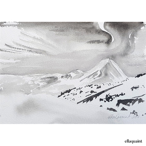 Ngauruhoe - an original ink and wash landscape