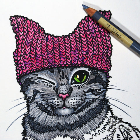 Pink Pussy Hat Cat Colouring / Coloring Page - Free Instant Download
