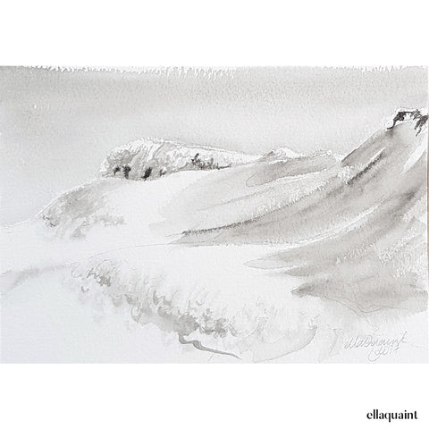 Ruapehu - hike up to the crater - an original ink and wash landscape