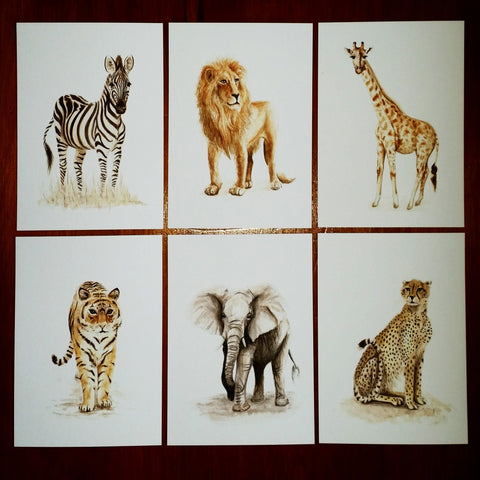 Mixed Safari Animals -  Postcards