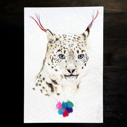 Snow Leopard 2013 - an Original Watercolour Illustration