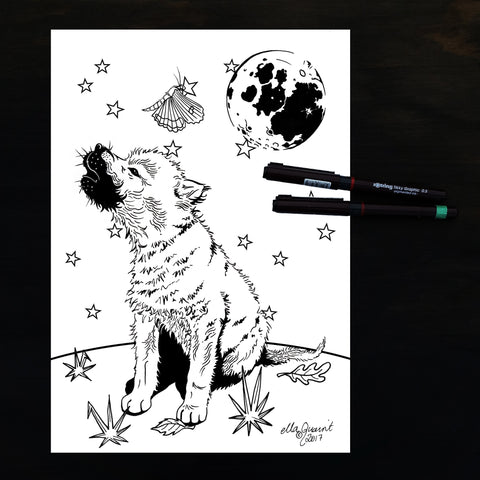 Wolfcub and Moon Colouring / Coloring Page Instant Download