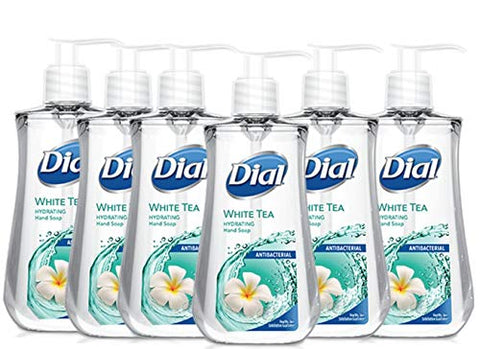 Dial Liquid Soap Anti-Bacterial White Tea 7.5 Ounce Pump (221ml) (Pack of 6)