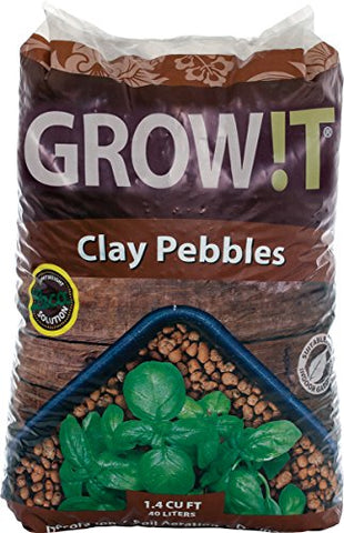GROW!T GMC40l - 4mm-16mm Clay Pebbles, Brown, (40 Liter Bag) - Made from 100% Natural Clay, Can be used for Drainage, Decoration, Aquaponics, Hydroponics and Other Gardening Essentials