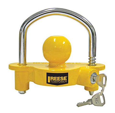 Reese Towpower 72783 Universal Coupler Lock, Adjustable Storage Security, Heavy-Duty Steel, Yellow and Chrome (12)