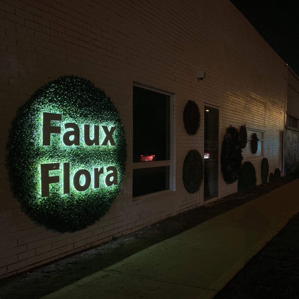 Artificial faux flora sign on st georges road preston by Garden Beet