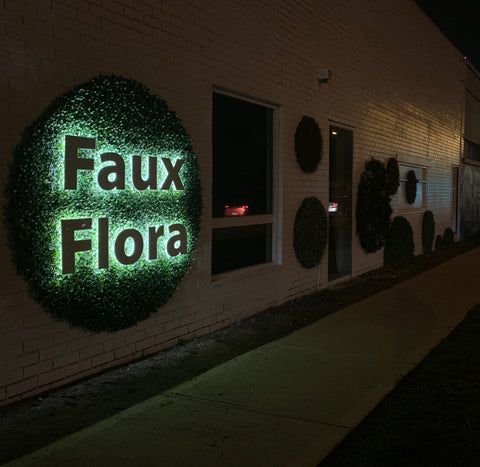 faux flora circle sign at garden beet preston melbourne