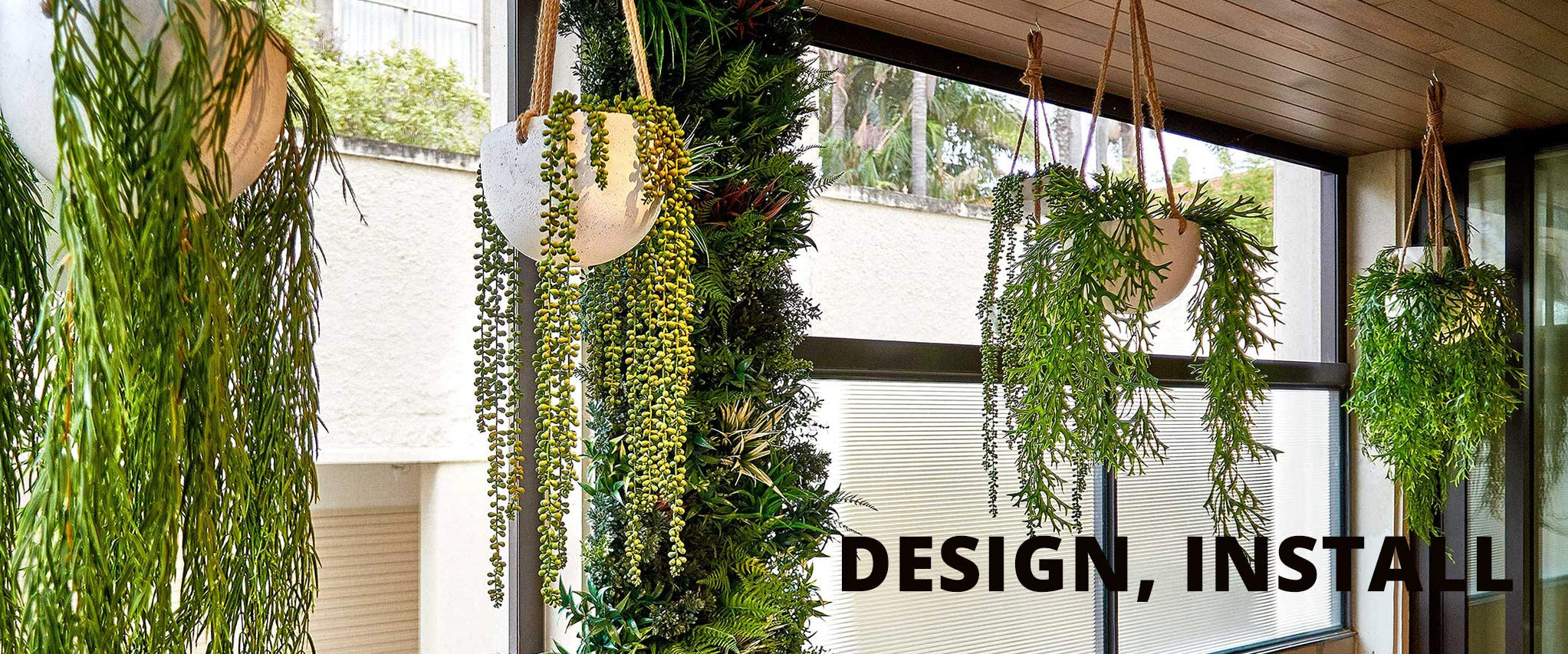 vertical garden with hanging plants
