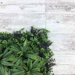 artificial green wall with timber white