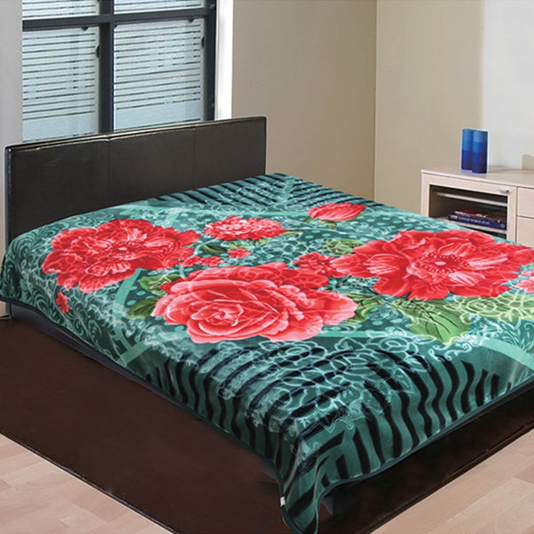 D&B Heavy Weight, Double Ply Plush Cloudy Mink Blanket - Green Floral - {product_type] | Grover Essentials