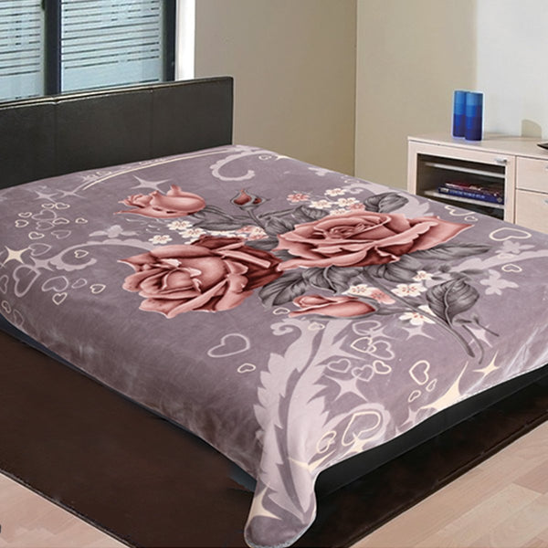 D&B Heavy Weight, Double Ply Plush Cloudy Mink Blanket - Mauve Floral - {product_type] | Grover Essentials