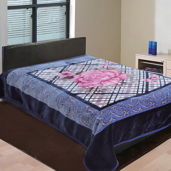 D&B Heavy Weight, Double Ply Plush Cloudy Mink Blanket - Navy Blue Floral Print - {product_type] | Grover Essentials