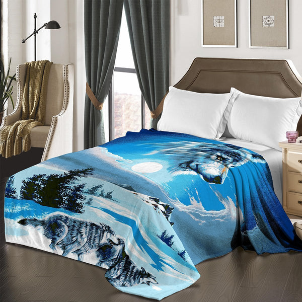 "D&B Plush Blanket 79"" x 94"", Heavy Blanket (10 Pounds) - Soft and Warm, Korean Style Mink Blanket - Blue Wolf - {product_type] 