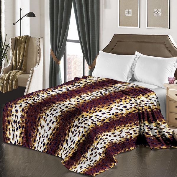"D&B Plush Blanket 79"" x 94"", Heavy Blanket (10 Pounds) - Soft and Warm, Korean Style Mink Blanket - Leopard Skin - {product_type] 