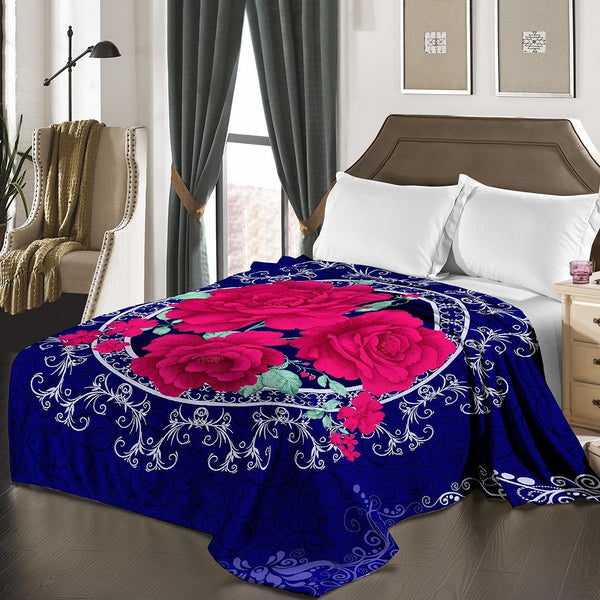 "D&B Plush Blanket 79"" x 94"", Heavy Blanket (10 Pounds) - Soft and Warm, Korean Style Mink Blanket - Royal Blue Floral - {product_type] 