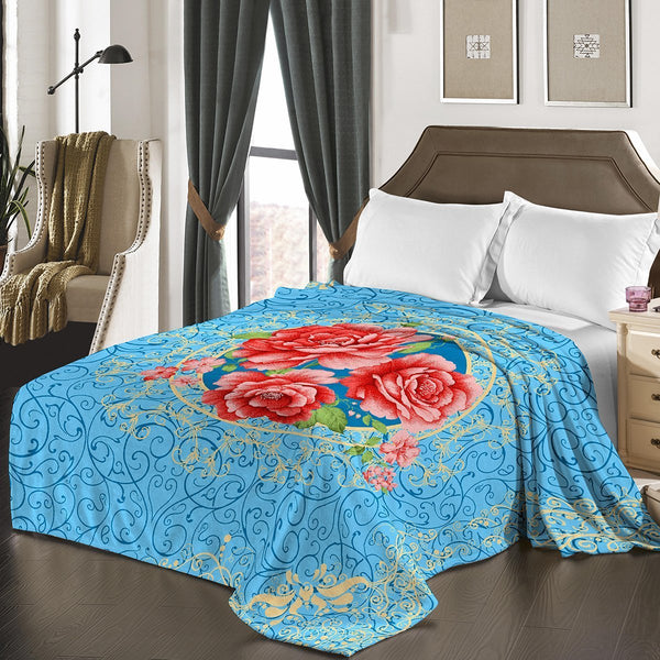 "D&B Plush Blanket 79"" x 94"", Heavy Blanket (10 Pounds) - Soft and Warm, Korean Style Mink Blanket - Sky Blue Floral - {product_type] 