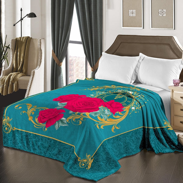 "D&B Plush Blanket 79"" x 94"", Heavy Blanket (10 Pounds) - Soft and Warm, Korean Style Mink Blanket - Teal Floral - {product_type] 
