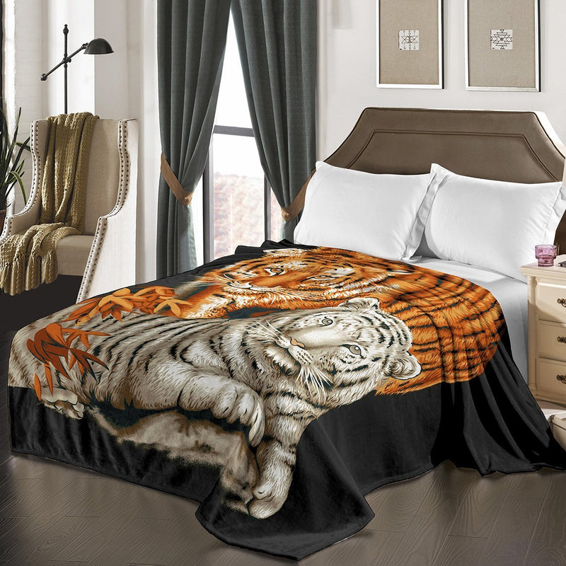 "D&B Plush Blanket 79"" x 94"", Heavy Blanket (10 Pounds) - Soft and Warm, Korean Style Mink Blanket - Tigers - {product_type] 
