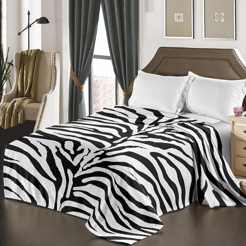 "D&B Plush Blanket 79"" x 94"", Heavy Blanket (10 Pounds) - Soft and Warm, Korean Style Mink Blanket - Zebra - {product_type] 