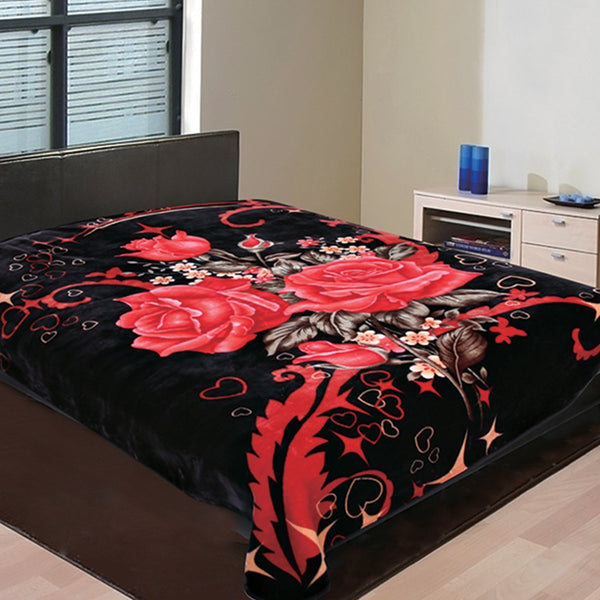 "D&B Plush Blanket 86"" x 95"" King Size Super Heavy Weight Double Ply Blanket - Soft and Warm, Korean Style Mink Blanket - Black Floral - {product_type] 