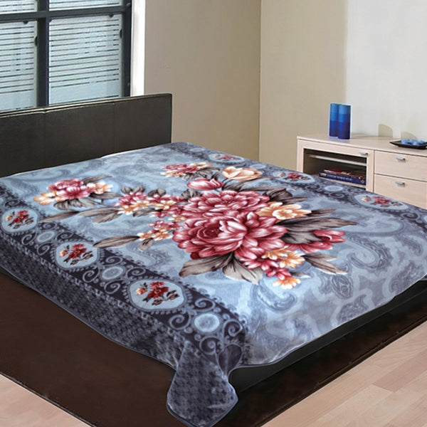 "D&B Plush Blanket 86"" x 95"" King Size Super Heavy Weight Double Ply Blanket - Soft and Warm, Korean Style Mink Blanket - Grey Floral - {product_type] 
