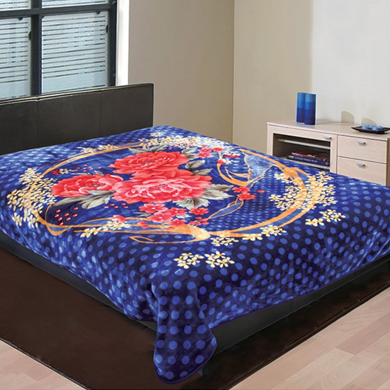 "D&B Plush Blanket 86"" x 95"" King Size Super Heavy Weight Double Ply Blanket - Soft and Warm, Korean Style Mink Blanket - Royal Blue Floral - {product_type] 