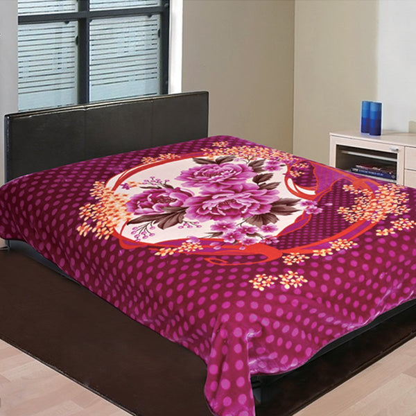 D&B Double Ply Plush Cloudy Mink Blanket - Fuchsia Floral - {product_type] | Grover Essentials