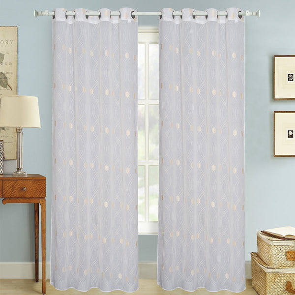 "D&B Panama Collection - Embroidered Sheer Curtain Panel w/ Grommets (56"" x 90"") - {product_type] 
