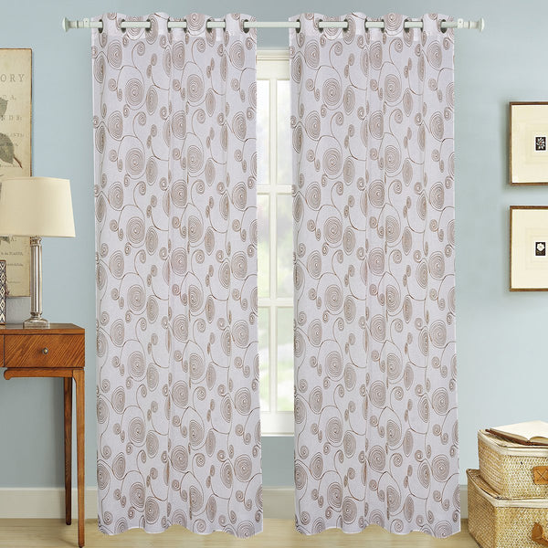 "D&B Brazil Collection - Embroidered Sheer Curtain Panel w/ Grommets (56"" x 90"") - {product_type] 