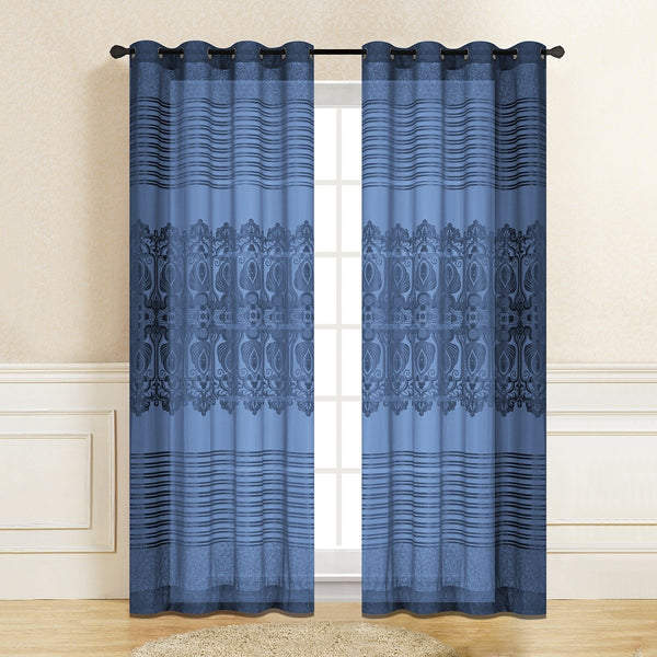 "D&B Genevieve Sheer Collection - Printed Curtain Panel (56"" x 96"") - {product_type] 