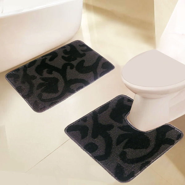 Grover Essentials 2 PC Embossed Solid Colour Bath Mat/Rug Set, Non-Slip with Rubber-backing - {product_type] | Grover Essentials