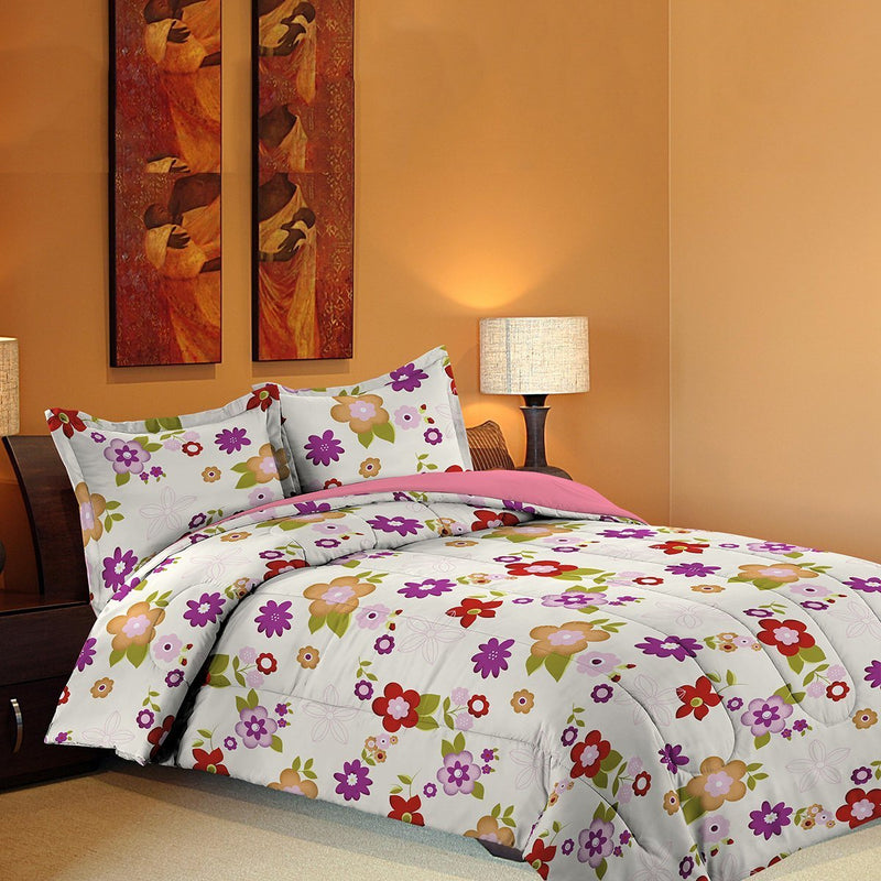 Grover Essentials 3 Piece Printed Comforter Set with Pillow Shams - Reversible Down Alternative Comforter - Animated Flowers - {product_type] | Grover Essentials