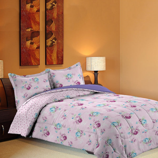 Grover Essentials 3 Piece Printed Comforter Set with Pillow Shams - Reversible Down Alternative Comforter - Floral Pink - {product_type] | Grover Essentials