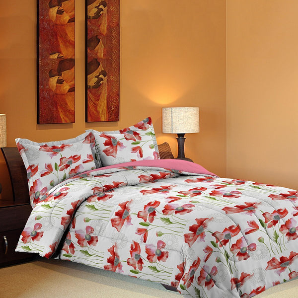 Grover Essentials 3 Piece Printed Comforter Set with Pillow Shams - Reversible Down Alternative Comforter - Floral Red - {product_type] | Grover Essentials