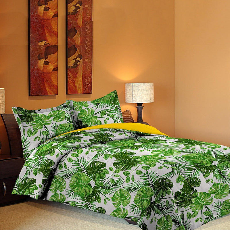 Grover Essentials 3 Piece Printed Comforter Set with Pillow Shams - Reversible Down Alternative Comforter - Forest Green - {product_type] | Grover Essentials