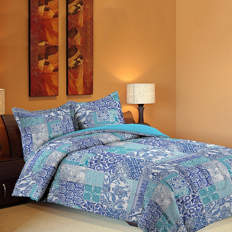 Grover Essentials 3 Piece Printed Comforter Set with Pillow Shams - Reversible Down Alternative Comforter - Mosaic Blue - {product_type] | Grover Essentials