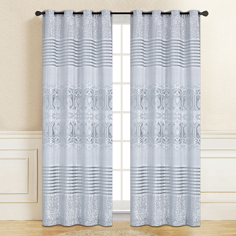 Genevieve Jacquard Grommet Curtain/Drape - Single Room Darkening Blackout Curtain Panel for Bedroom or Living Room (56 inch x 96 inch) - {product_type] | Grover Essentials