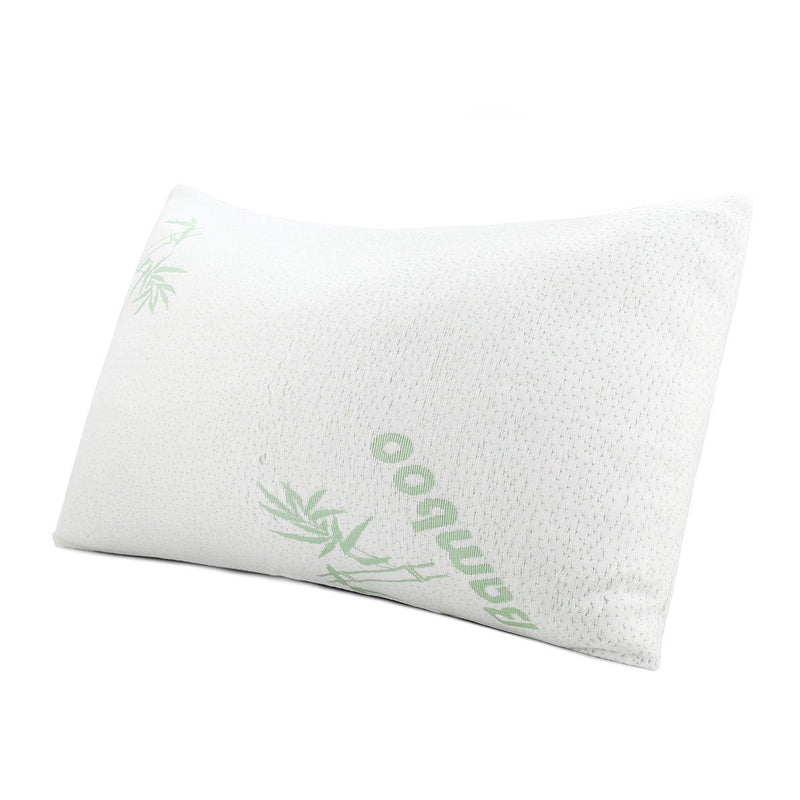 Shredded Memory Foam Bed Pillow with Super Soft Removable Washable Bamboo Cover Case - Queen Size - {product_type] | Grover Essentials