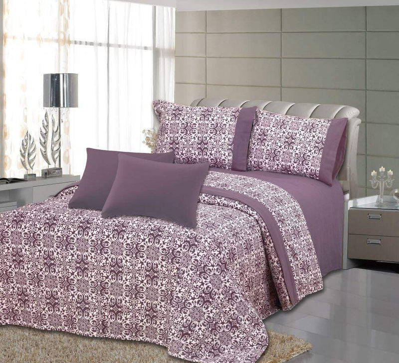 Royal Bamboo 3500 Egyptian Quality Deep Pocket 6-Piece Sheet Set - Dark Purple Floral Print - {product_type] | Grover Essentials